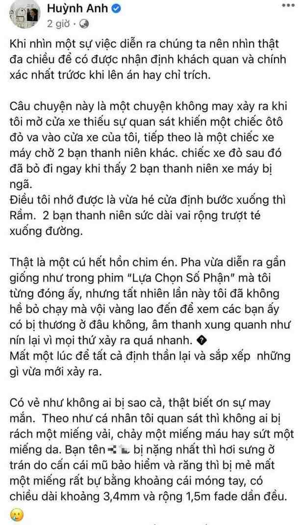 Rạng sáng ngày 18/2, Huỳnh Anh viết tâm thư phản bác trên trang cá nhân